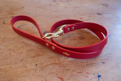 Cranberry luxury leather dog lead