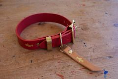 Cranberry luxury leather dog collar and lead set