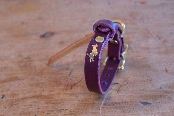 Fig mini luxury leather dog collar
