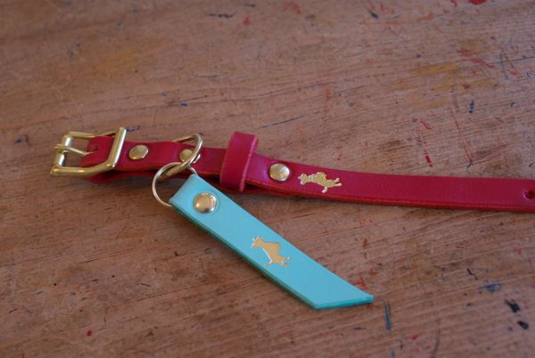 Cranberry mini luxury leather dog collar