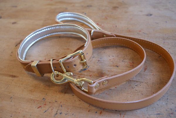 Nacho tan padded luxury leather dog collar and lead set