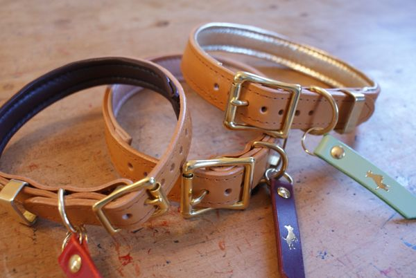 Nacho tan padded luxury leather dog collar