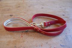 Cranberry padded luxury leather dog lead