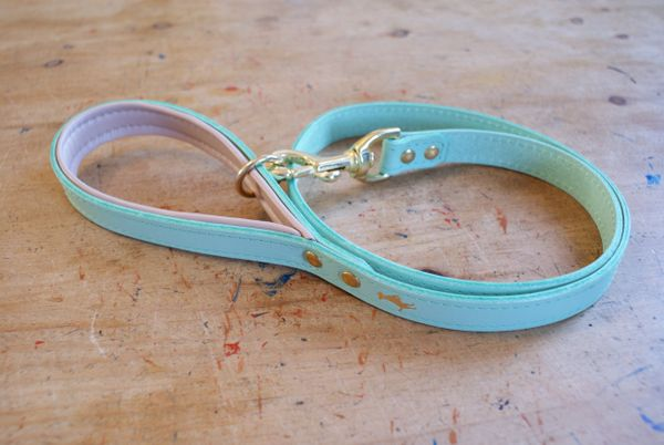 Mint padded luxury leather dog lead