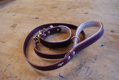 Fig padded luxury leather dog collar and lead set