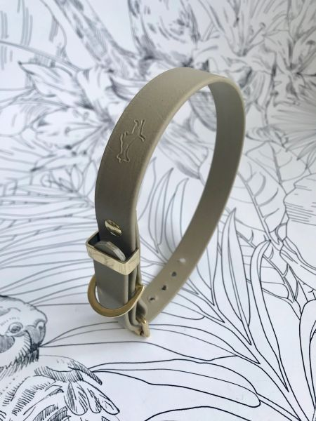 Khaki all weather dog collar