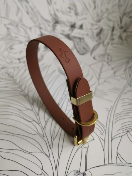 Brown all weather dog collar