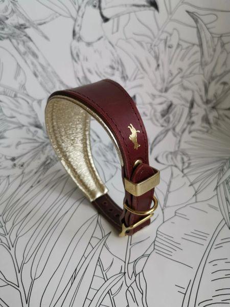 Fig padded luxury leather grey hound collar
