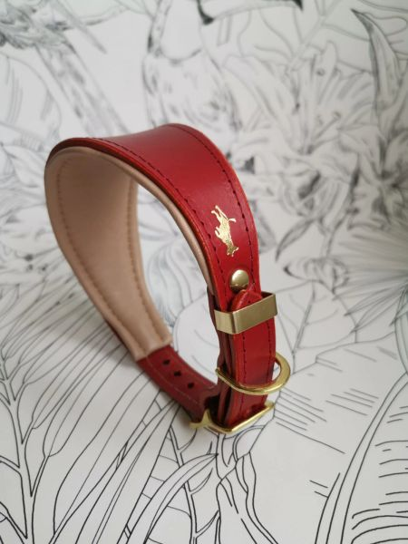 Cranberry padded luxury leather grey hound collar