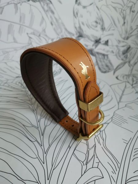 Nacho tan padded luxury leather grey hound collar