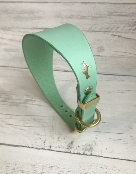 Mint luxury leather grey hound collar