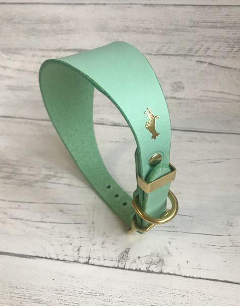 Mint luxury leather grey hound collar