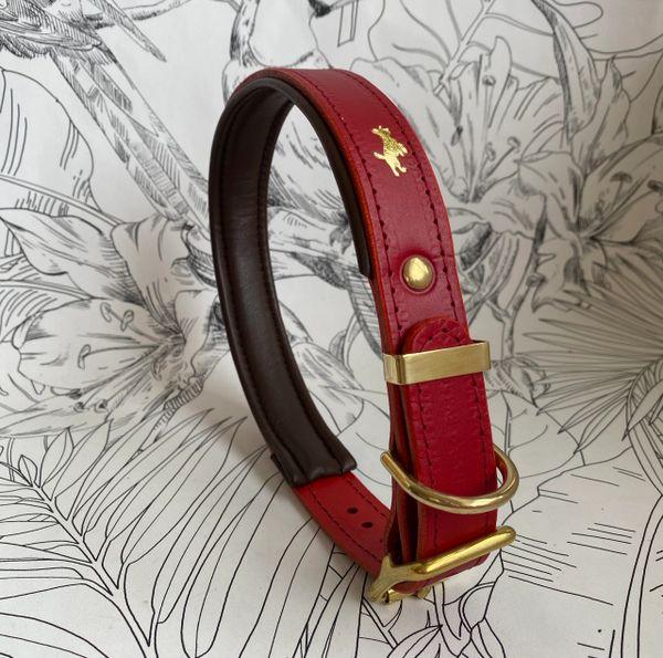 Cranberry padded luxury leather dog collar
