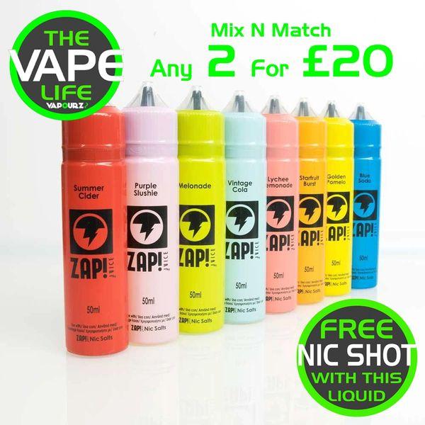 2 x Zap Juice 50ml Multibuy Deal with Free Nic Shots