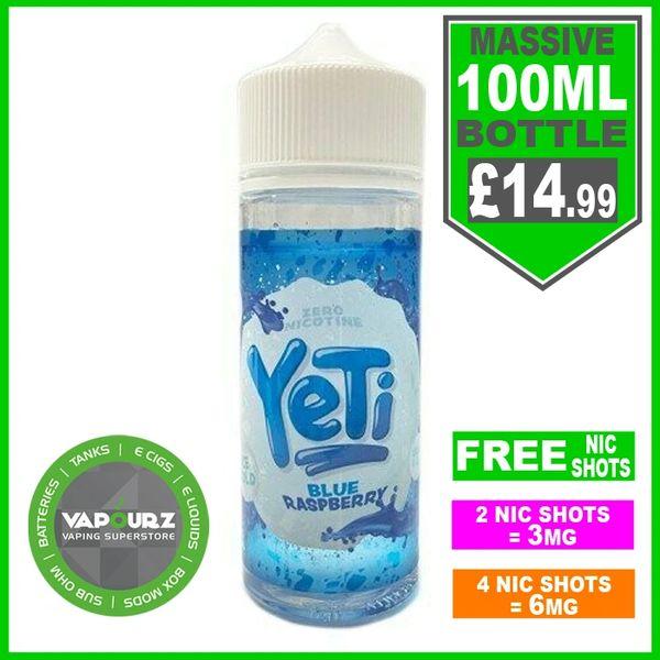 Yeti Blue Raspberry 100ml & Free Nic Shots