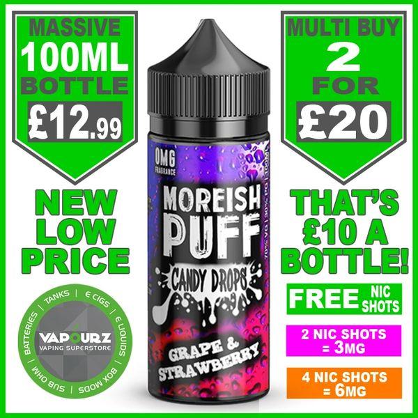 Moreish Puff Candy Drops Grape & Strawberry 100ml + Free Nic Shots