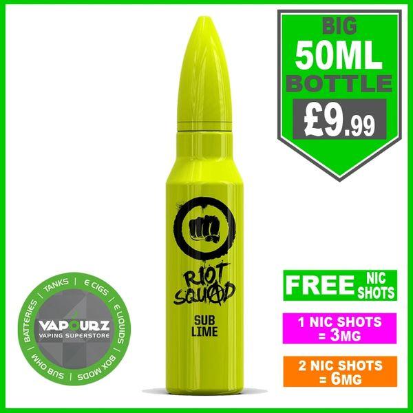 Riot squad sub lime 50ml + FREE Nic shots