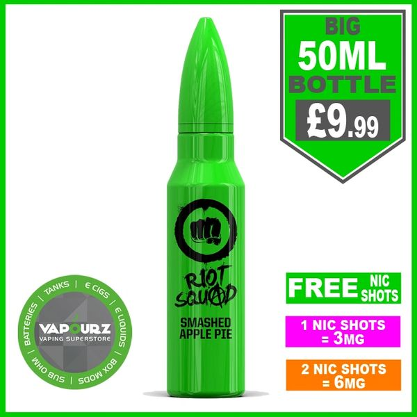 Riot squad smashed apple pie 50ml + FREE Nic shots