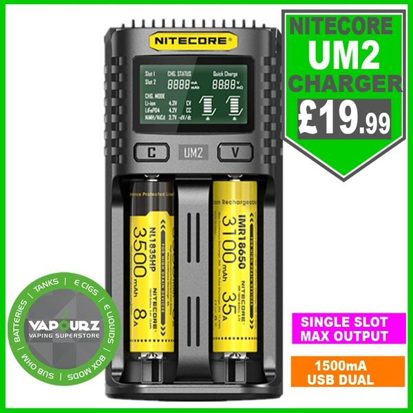 NITECORE UM2 LCD screen display 5V/2A Lithium battery charger