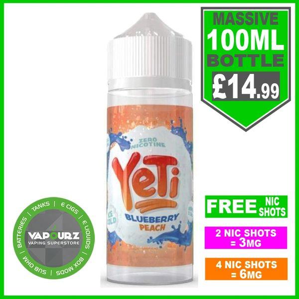 Yeti Blueberry Peach 100ml & Free Nic Shots