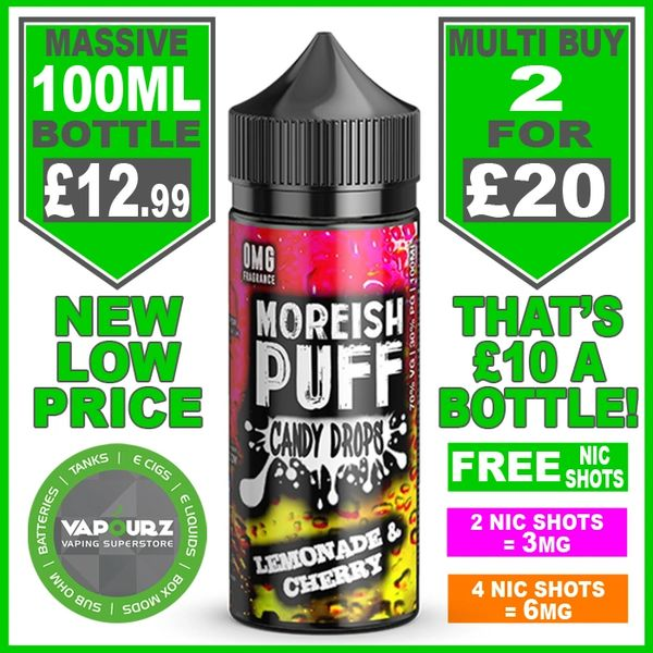 Moreish Puff Candy Drops Lemonade & Cherry 100ml + Free Nic Shots