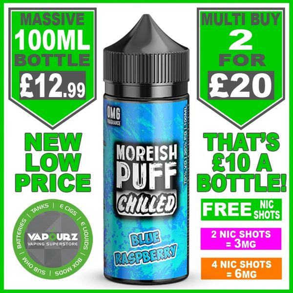 Moreish Puff Chilled Blue Raspberry 100ml + Free Nic Shots
