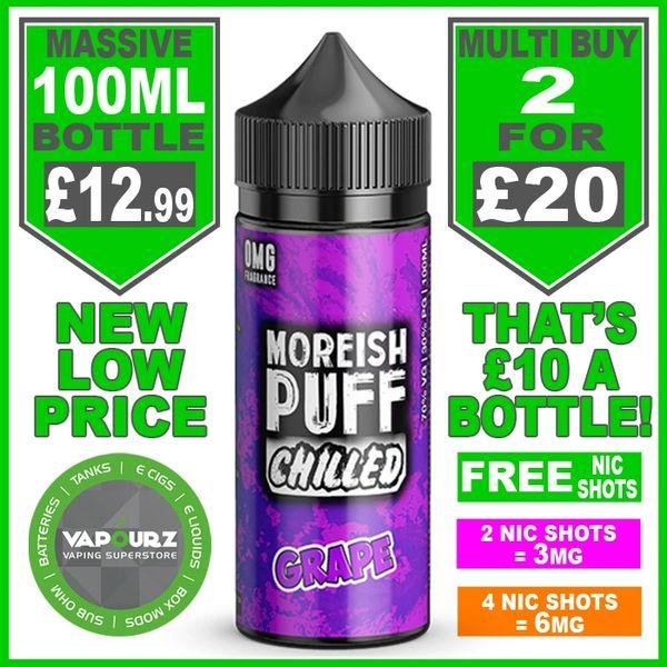 Moreish Puff Chilled Grape 100ml + Free Nic Shots