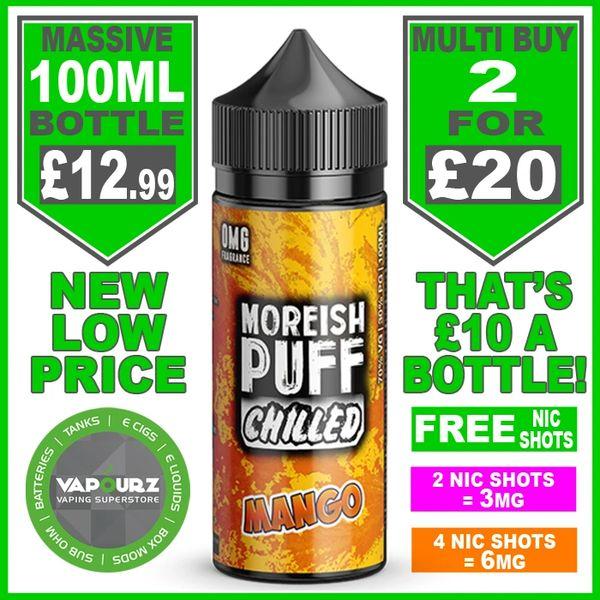 Moreish Puff Chilled Mango 100ml + Free Nic Shots