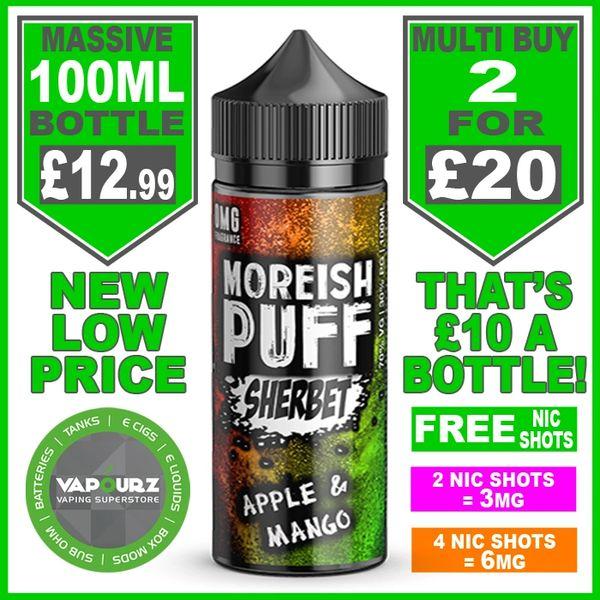 Moreish Puff Sherbet Apple & Mango 100ml + Free Nic Shots