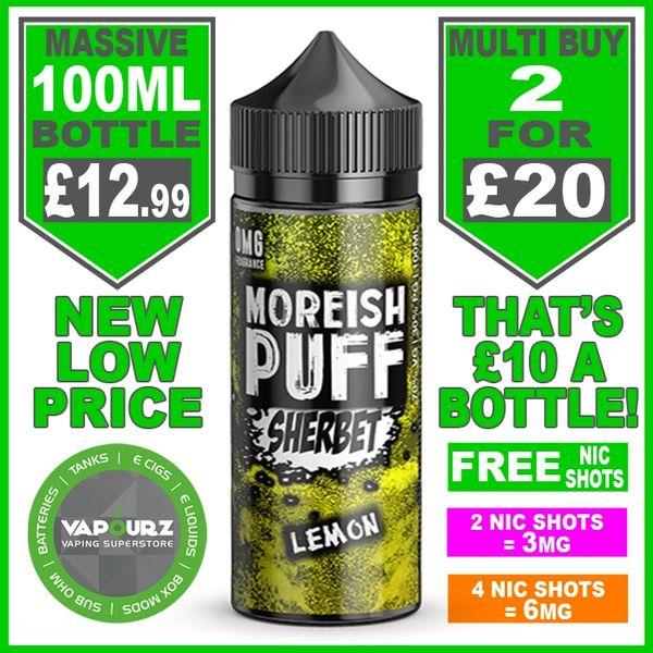 Moreish Puff Sherbet Lemon 100ml + Free Nic Shots