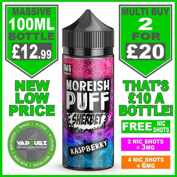 Moreish Puff Sherbet Raspberry 100ml + Free Nic Shots