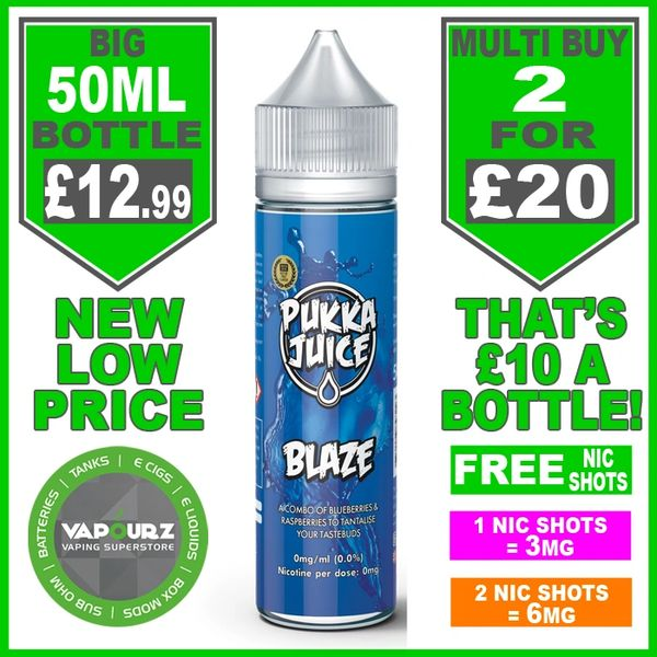 Pukka Juice Blaze 50ml + Free Nic Shots