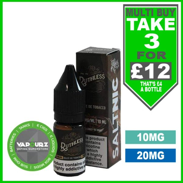 Ruthless Dulce De Tobacco Nic Salts 10ml
