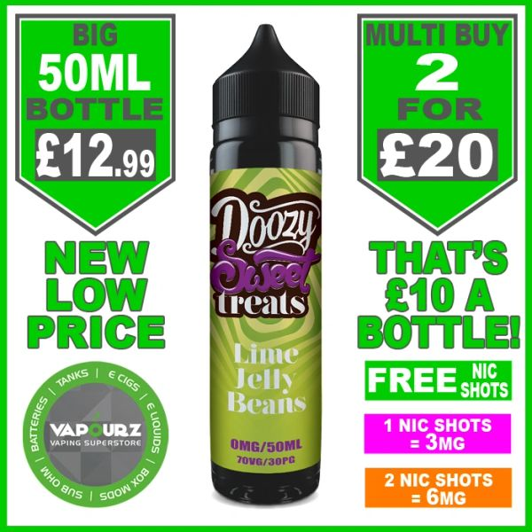 Doozy Sweets Lime Jelly Beans 50ml + free nic shots