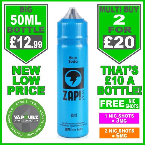 Zap Juice Blue Soda 50ml with Free Nic Shots