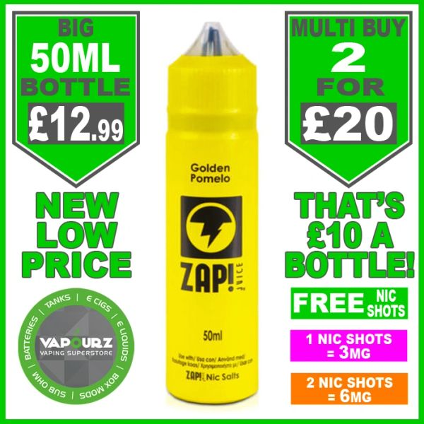 Zap Juice Golden Pomelo 50ml with Free Nic Shots