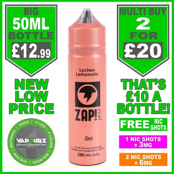 Zap Juice Lychee Lemonade 50ml with Free Nic Shots