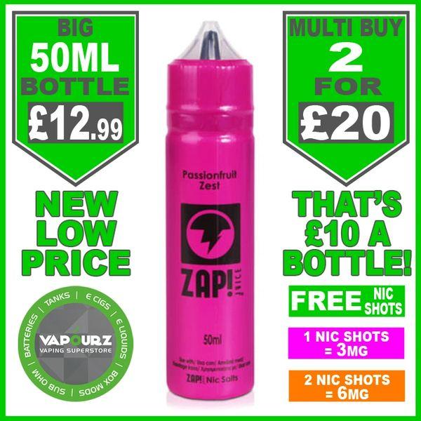 Zap Juice Passionfruit Zest 50ml with Free Nic Shots