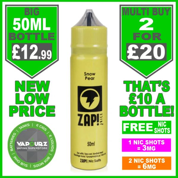 Zap Juice Snow Pear 50ml with Free Nic Shots