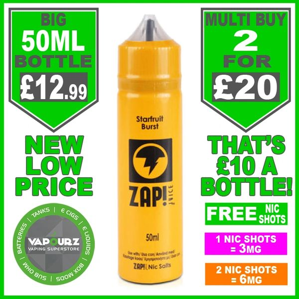 Zap Juice Starfruit Burst 50ml with Free Nic Shots