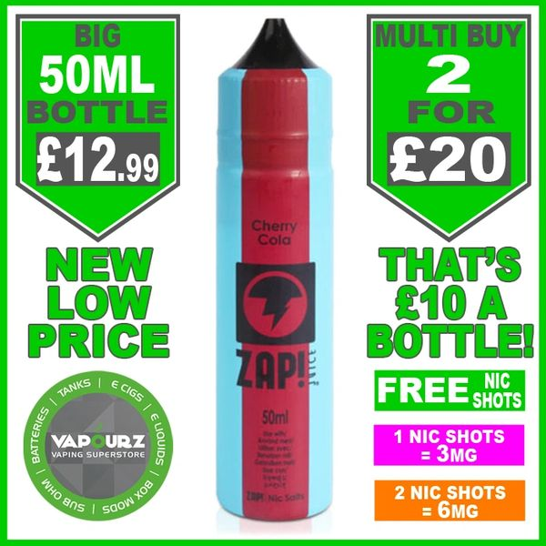 Zap Juice Cherry Cola 50ml with Free Nic Shots
