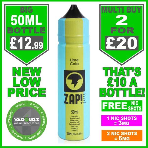 Zap Juice Lime Cola 50ml with Free Nic Shots