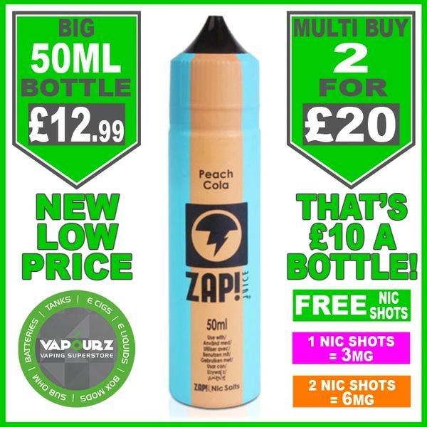 Zap Juice Peach Cola 50ml with Free Nic Shots