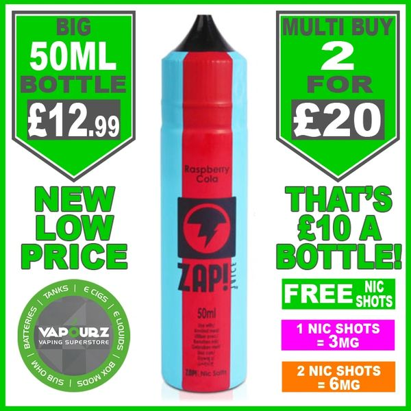 Zap Juice Raspberry Cola 50ml with Free Nic Shots