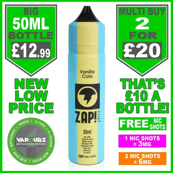 Zap Juice Vanilla Cola 50ml with Free Nic Shots
