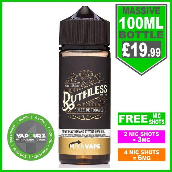 Ruthless Dulce de tobacco 100ML + Free Nic shots