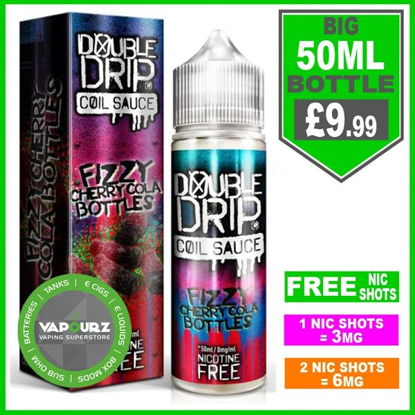 Double Drip fizzy cherry cola bottles 50ml + FREE Nic shots