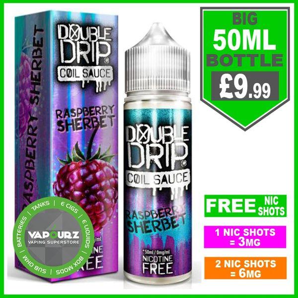Double Drip raspberry sherbet 50ml + FREE Nic shots