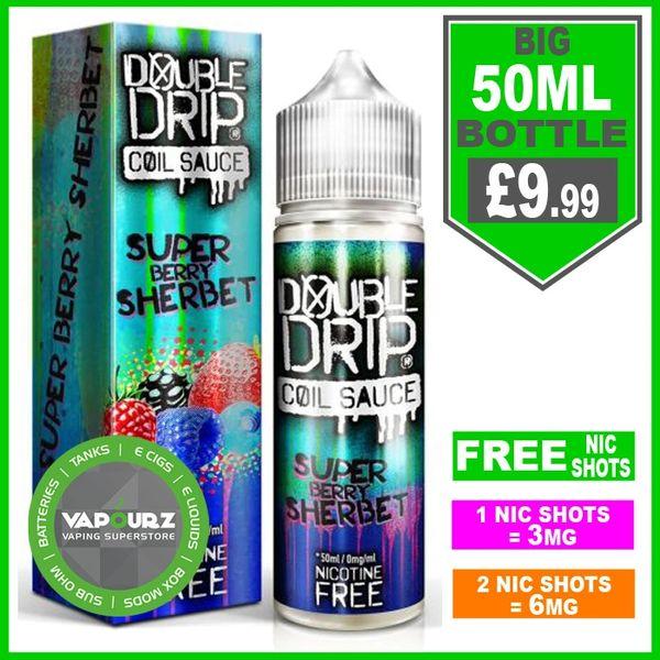 Double Drip super berry sherbet 50ml + FREE Nic shots