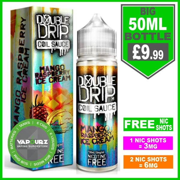 Double Drip mango raspberry ice cream 50ml + FREE Nic shots